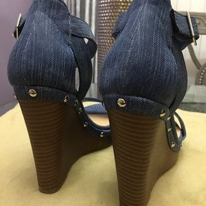 Jasmine Shoes - Denim Wedge Heels